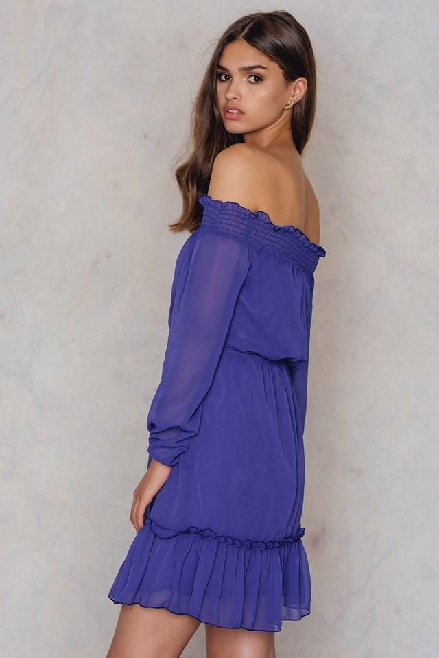 Off Shoulder Ruffle Dress Purple