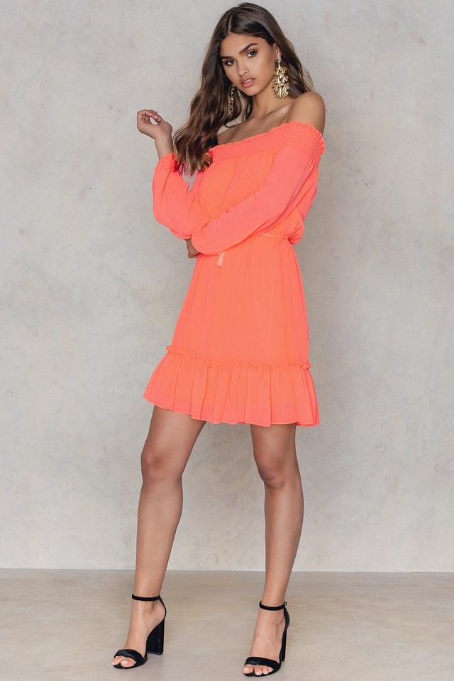 Off Shoulder Ruffle Dress Peach