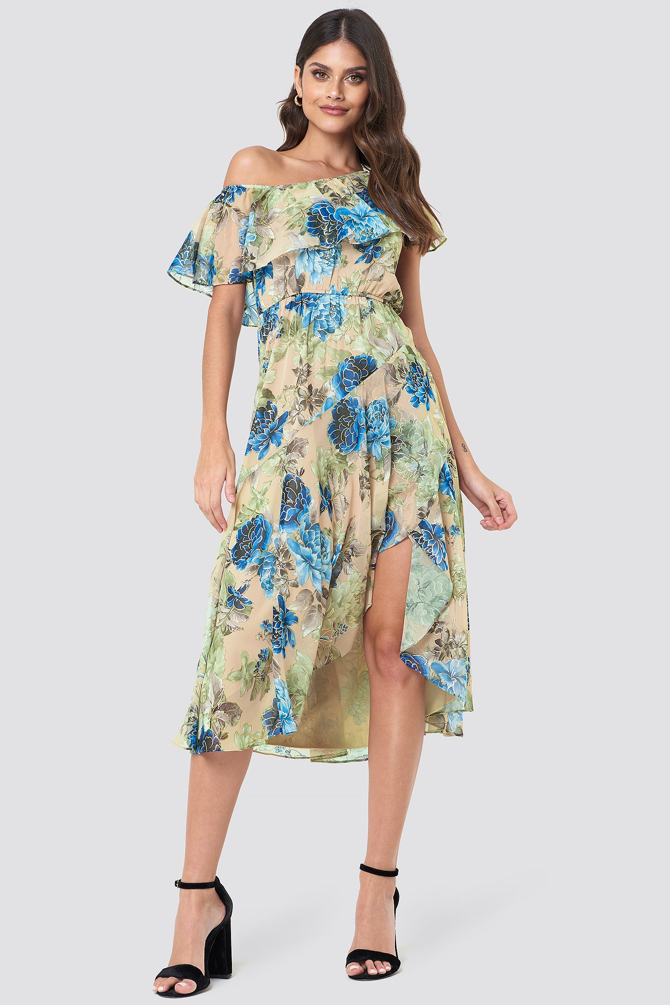 Off Shoulder Ruffle Midi Dress NA-KD.COM