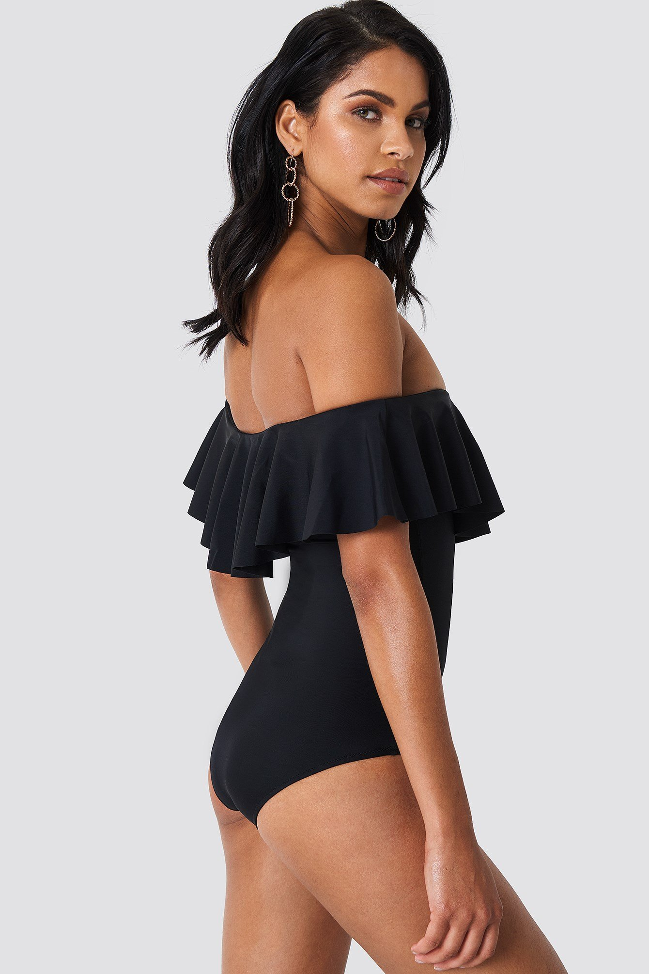 Off Shoulder Ruffle Swimsuit NA-KD.COM