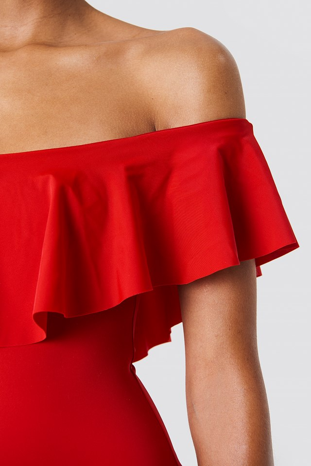 Off Shoulder Ruffle Swimsuit Red