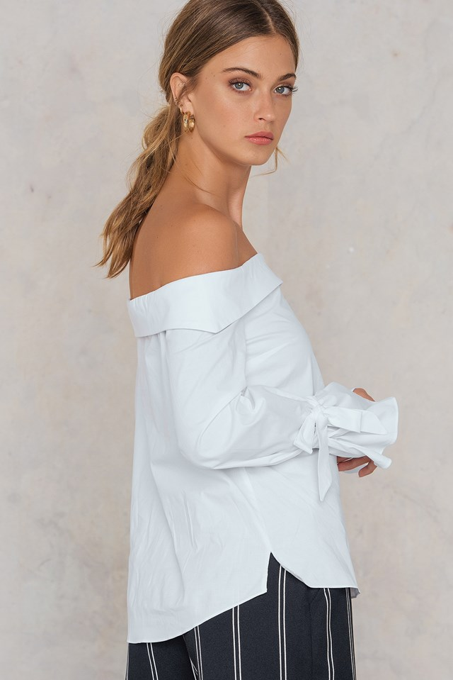 Off Shoulder Tie Sleeve Blouse Ecru