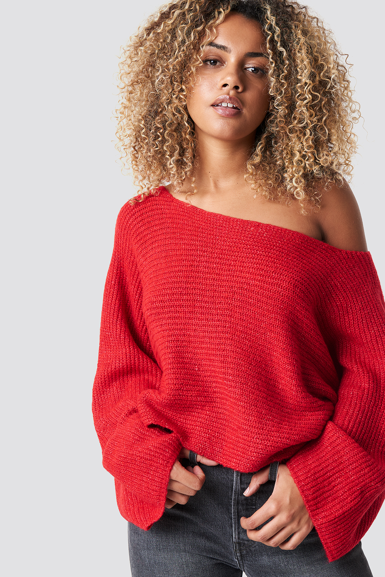 Off Shoulder Wide Sleeve Jumper NA-KD.COM