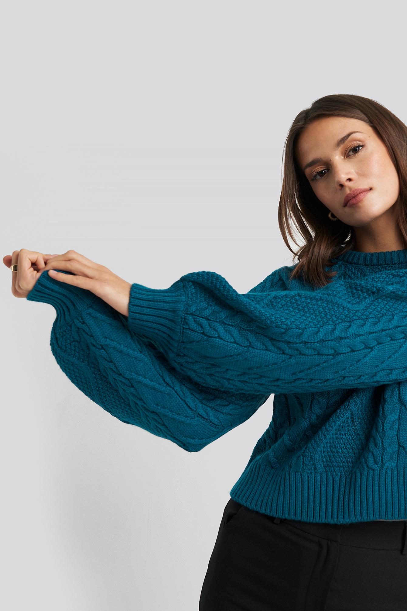 trendyol -  Oil Knitting Detail Sweater - Blue