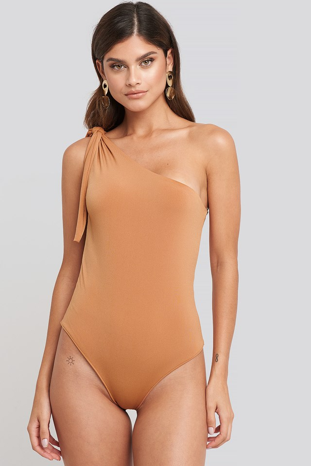One Shoulder Binding Detailed Body Mustard