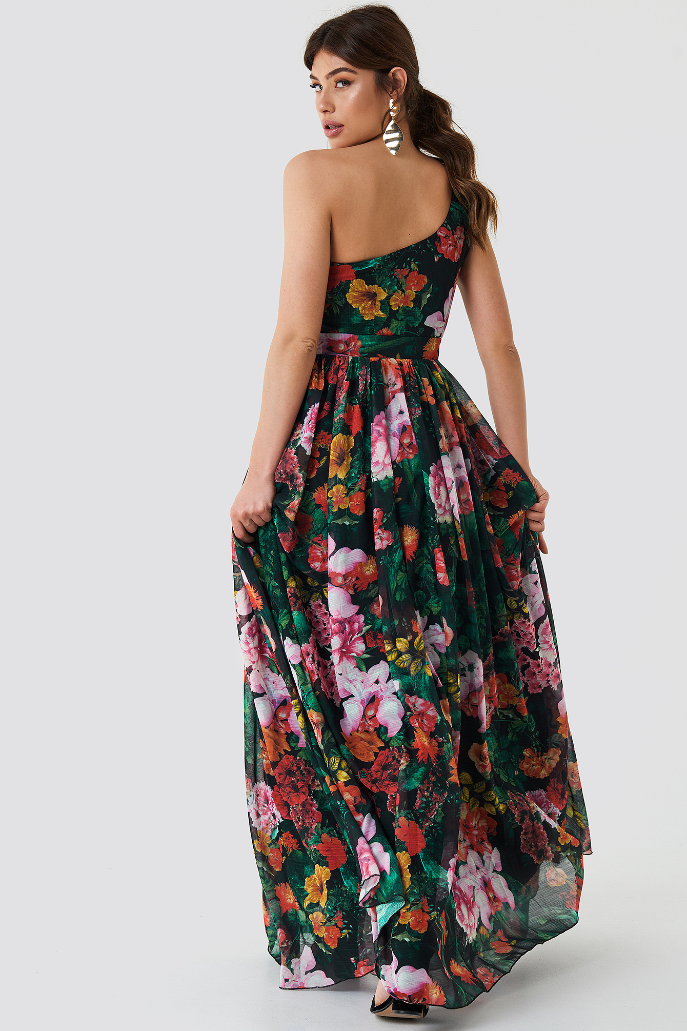 One Shoulder Double Strap Maxi Dress NA-KD.COM