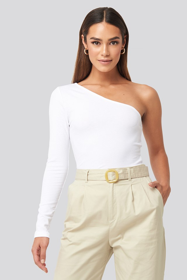 One Shoulder Knitted Top White