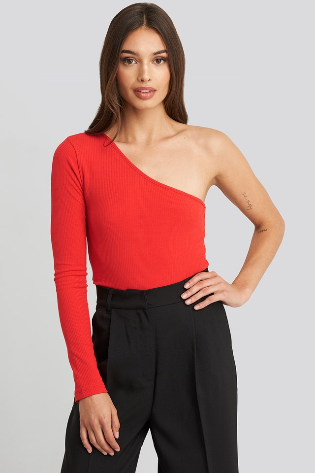 One Shoulder Knitted Top Vermilion