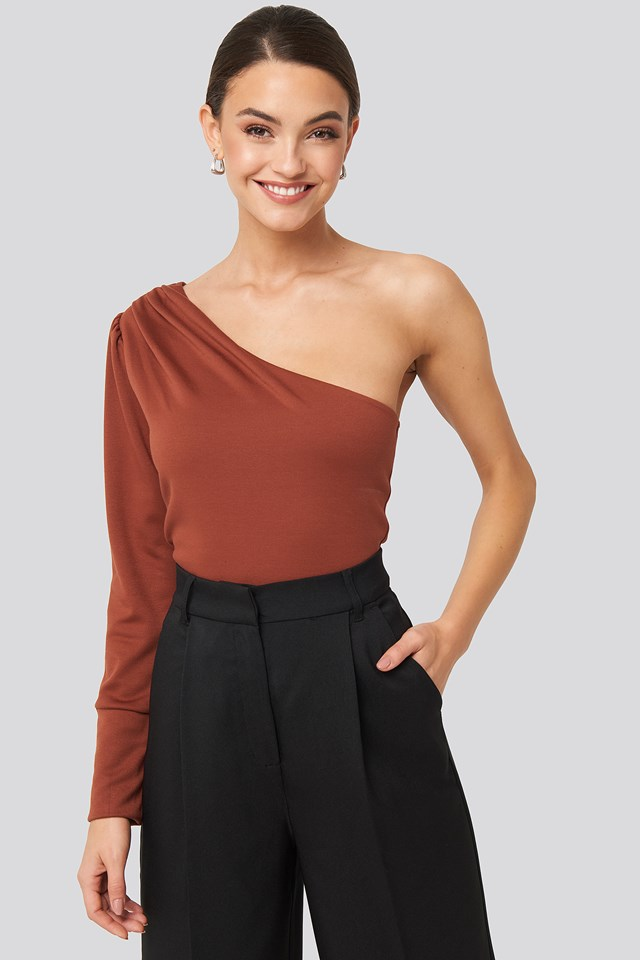 One Shoulder Long Sleeve Top Brick
