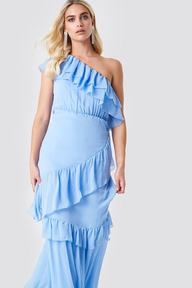 One Shoulder Maxi Dress Blue