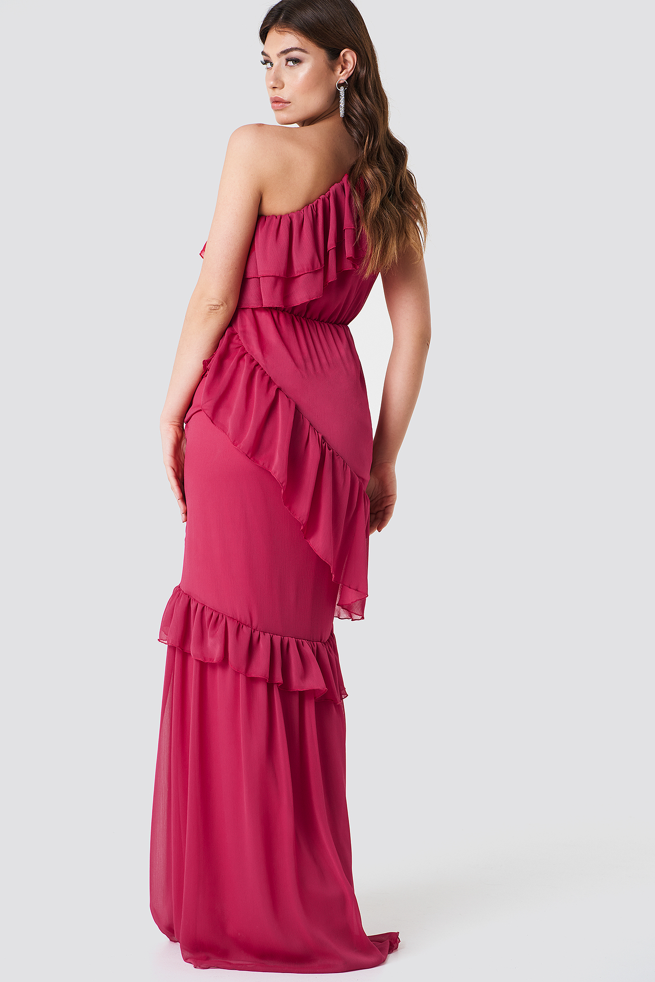 One Shoulder Maxi Dress Fuchsia Na Kd Com