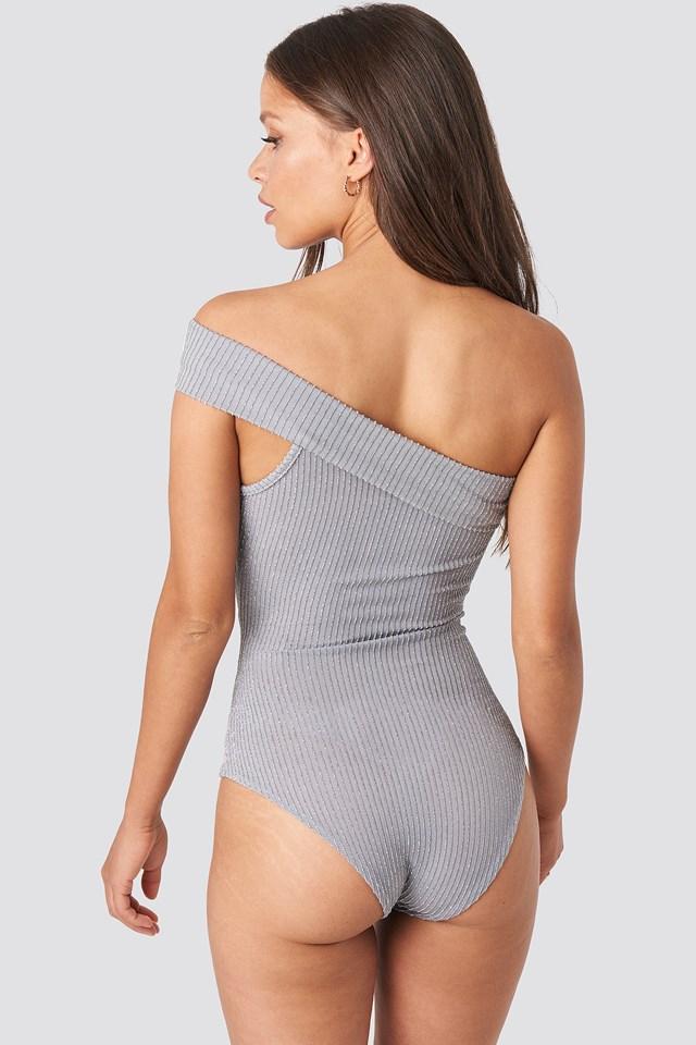 One Shoulder Metallic Detailed Body Gray