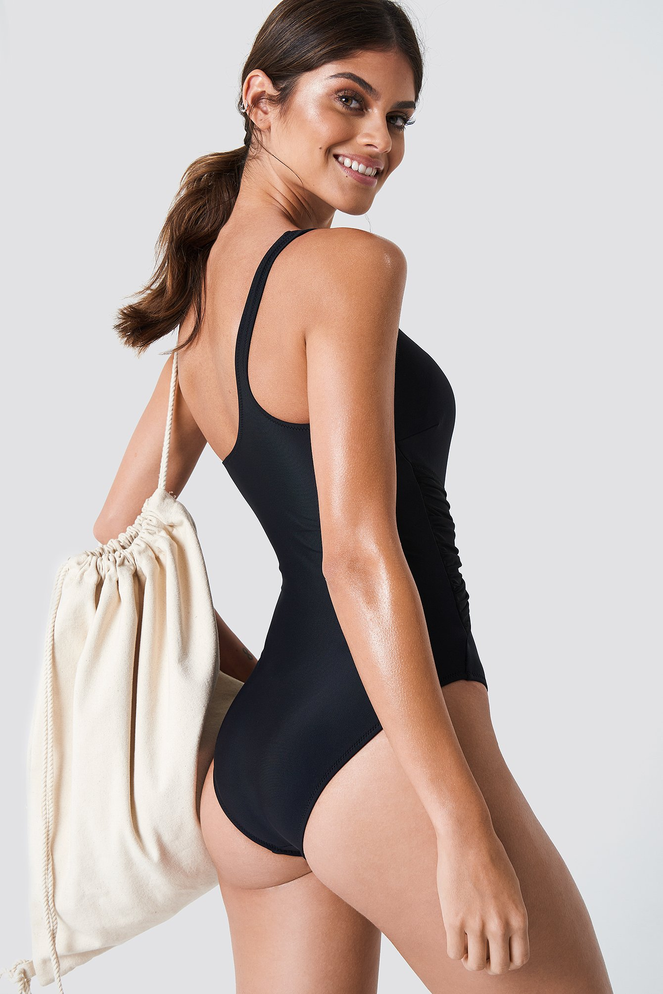 One Shoulder Tie Waist Swimsuit NA-KD.COM