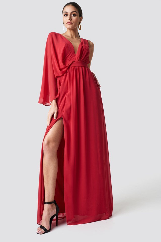 One Sleeve Maxi Dress Red