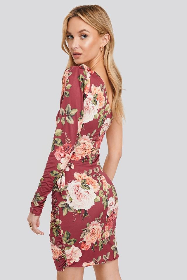 One Sleeve Patterned Dress Burgundy
