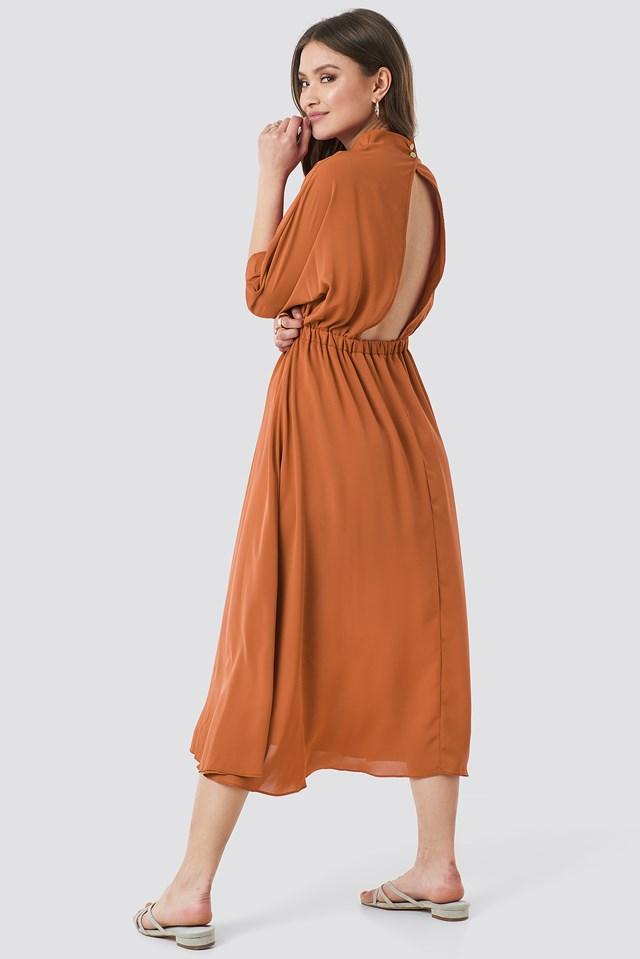 Open Back Detail Dress Cinnamon