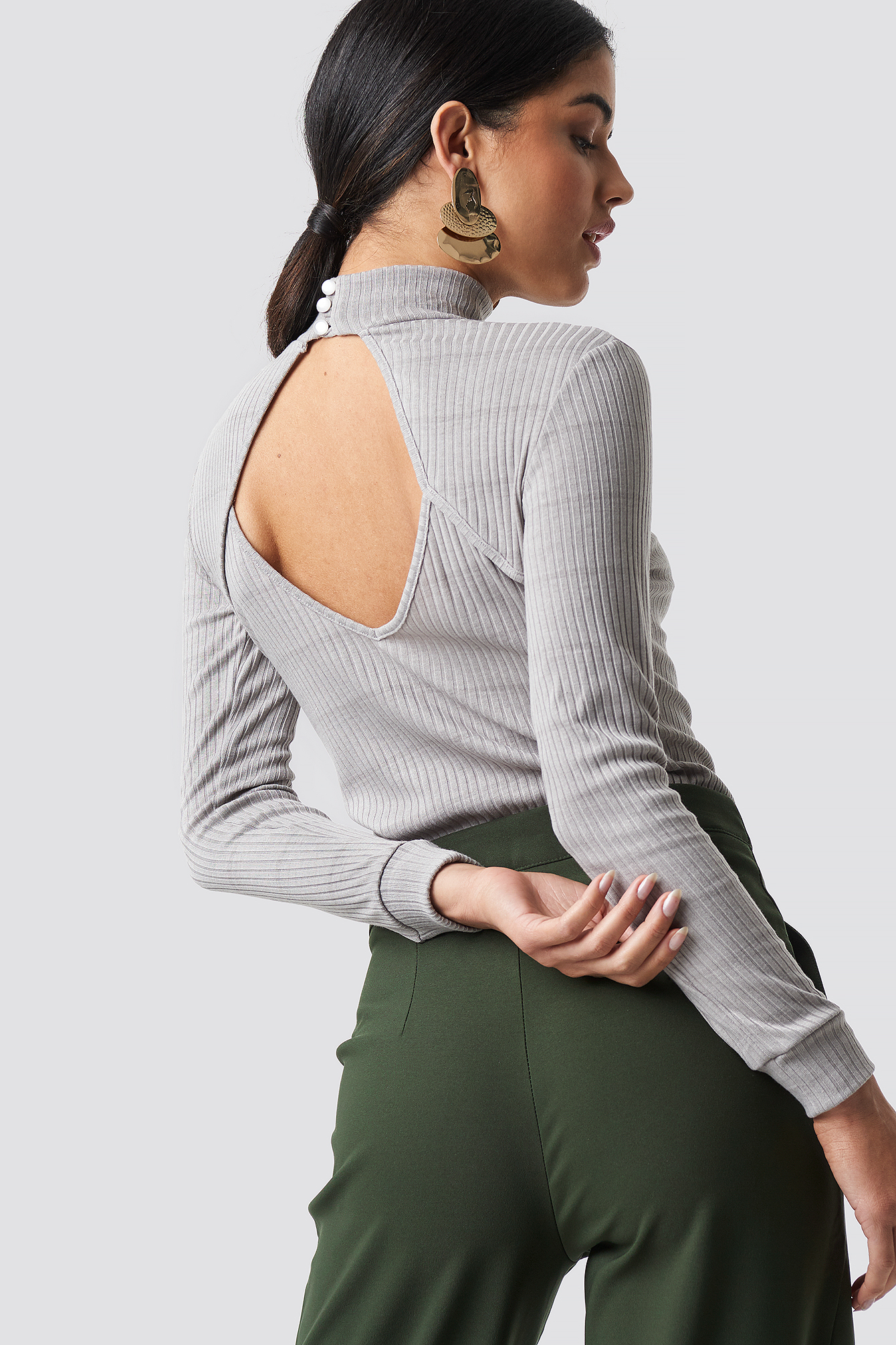 Open Back Knitted Blouse NA-KD.COM