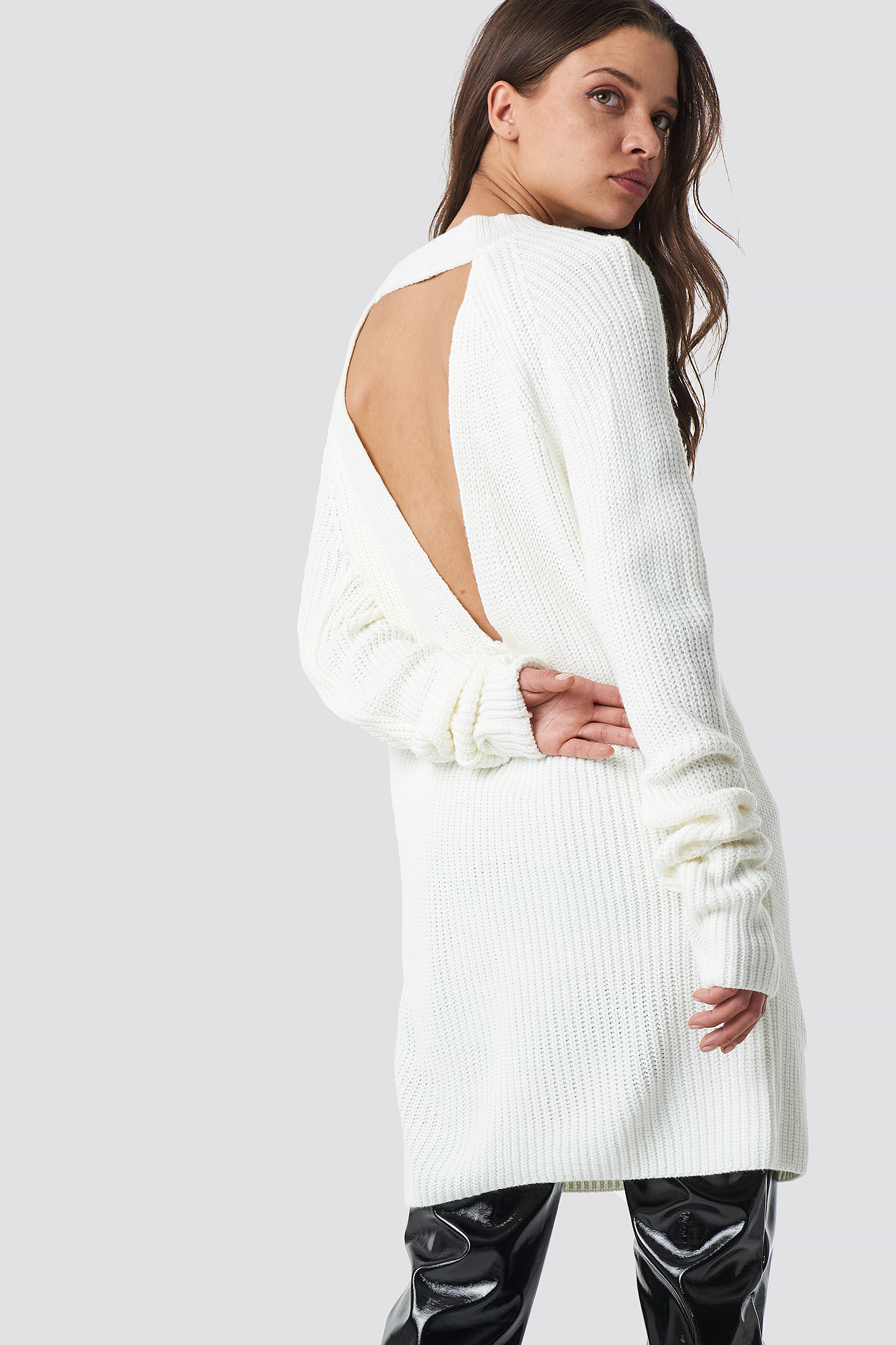 Open Back Knitted Sweater NA-KD.COM
