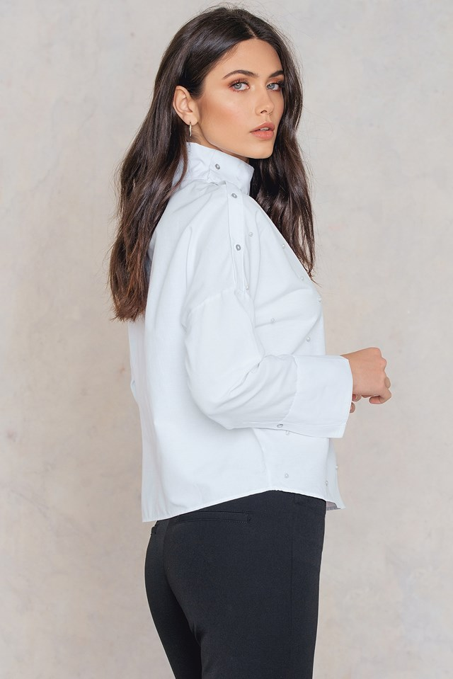Open Button Shoulder Pearl Top White