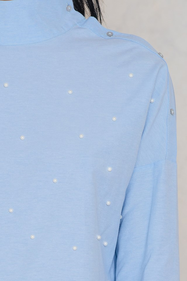 Open Button Shoulder Pearl Top Blue