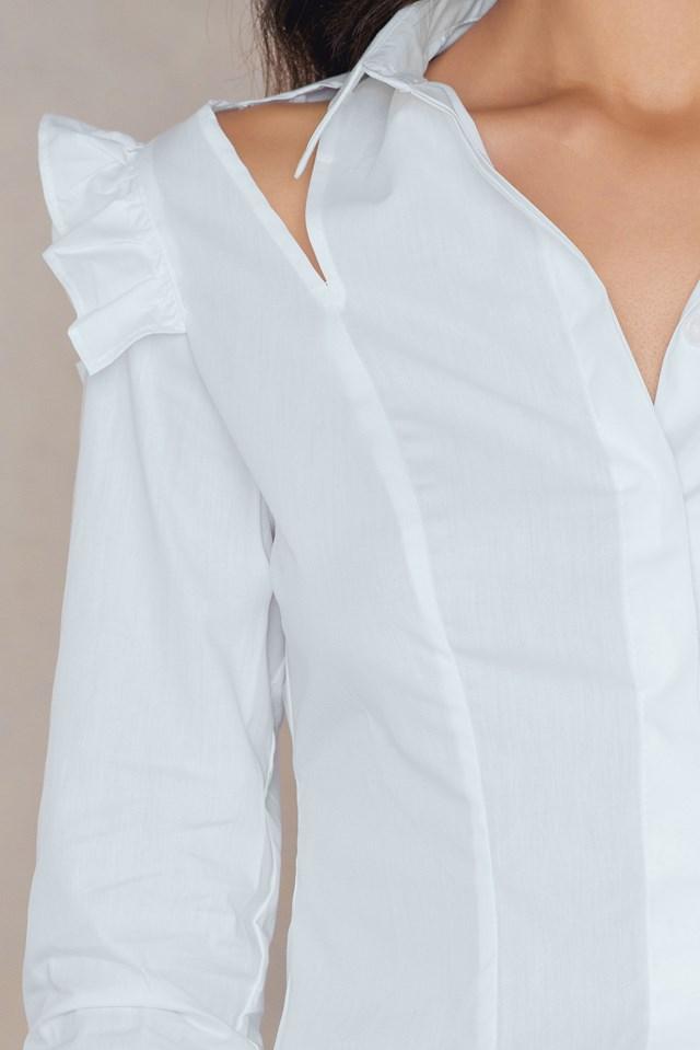 Open Cut Frill Shirt White