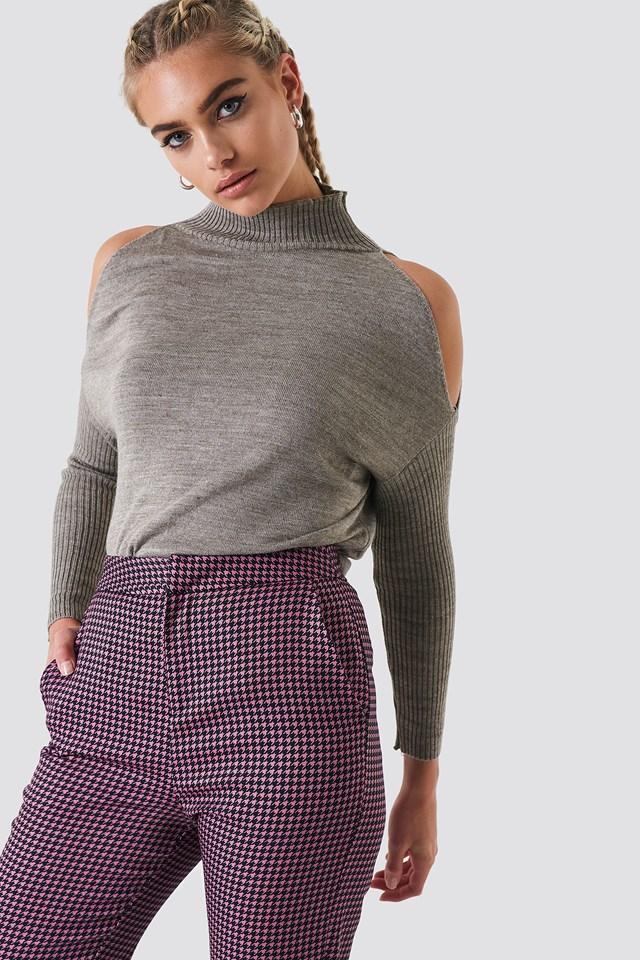 Open Shoulder Knit Mink