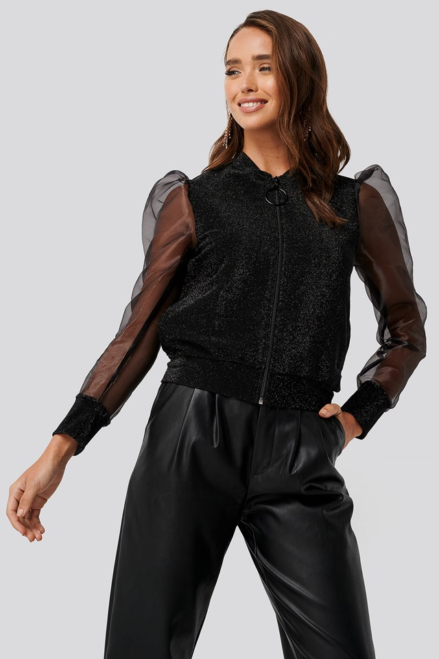 Organza Detailed Knitted Jacket Black
