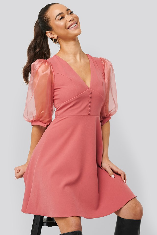 Organza Sleeve Detailed Dress Dusty Rose