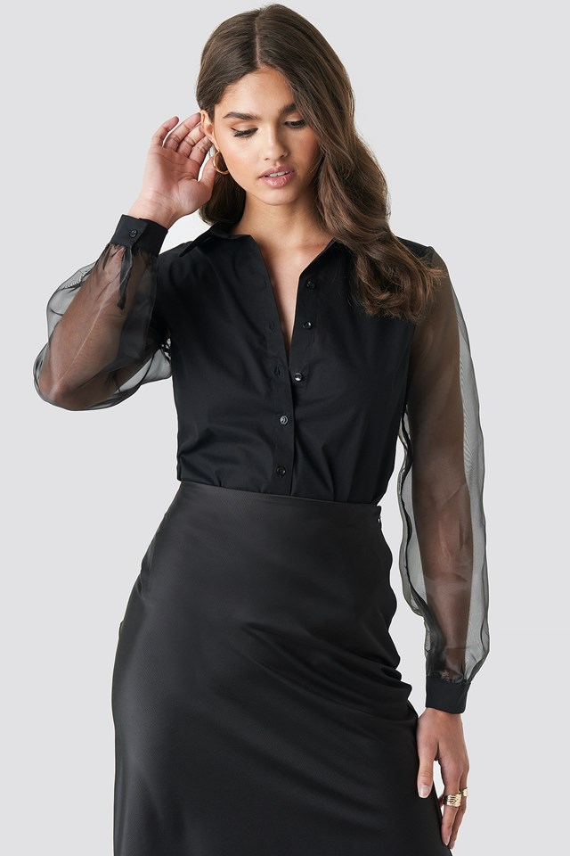 Organza Sleeve Shirt Black
