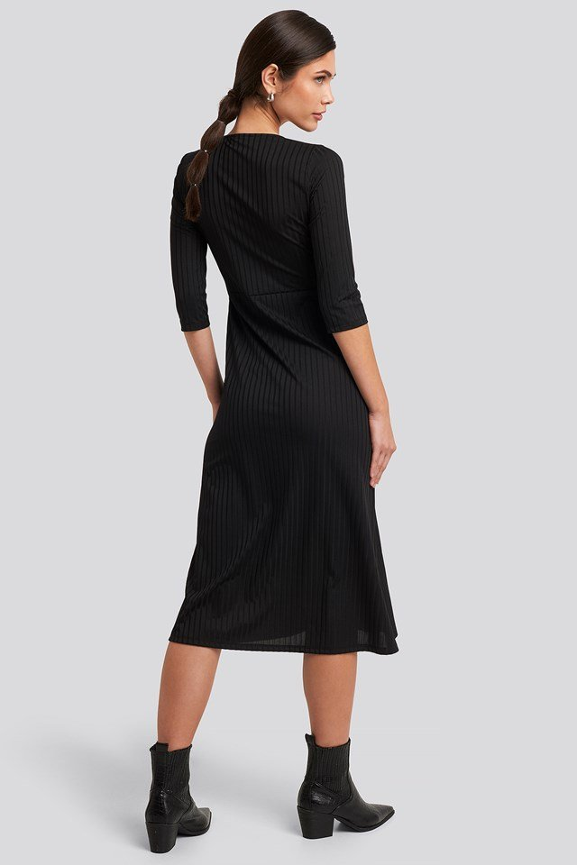 Overlap Detailed Midi Dress Black