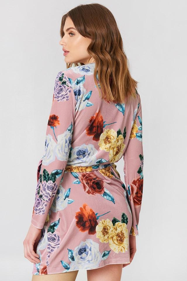 Overlap Floral Dress Pink