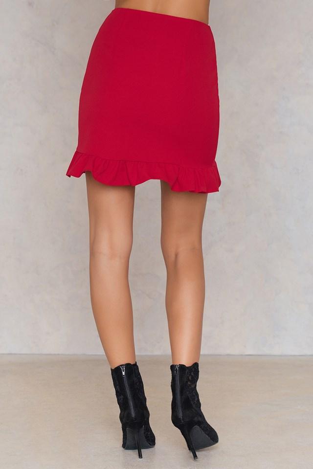 Overlap Frill Skirt Red