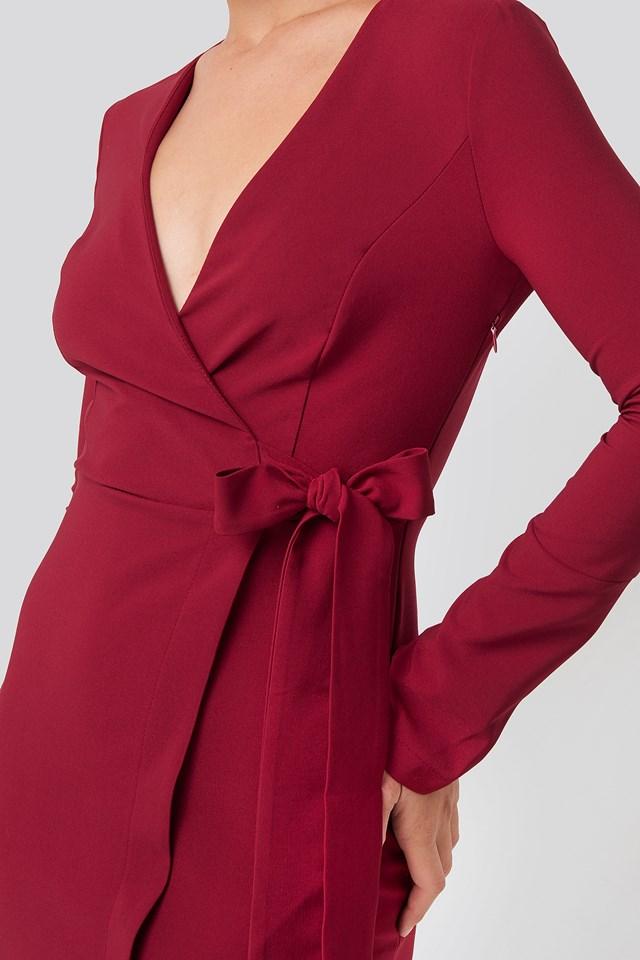 Overlap Mini Dress Burgundy