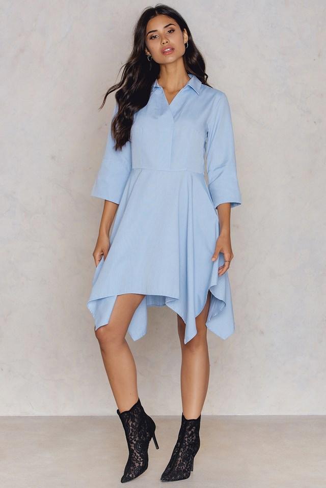 Overlap Shirt Dress Blue