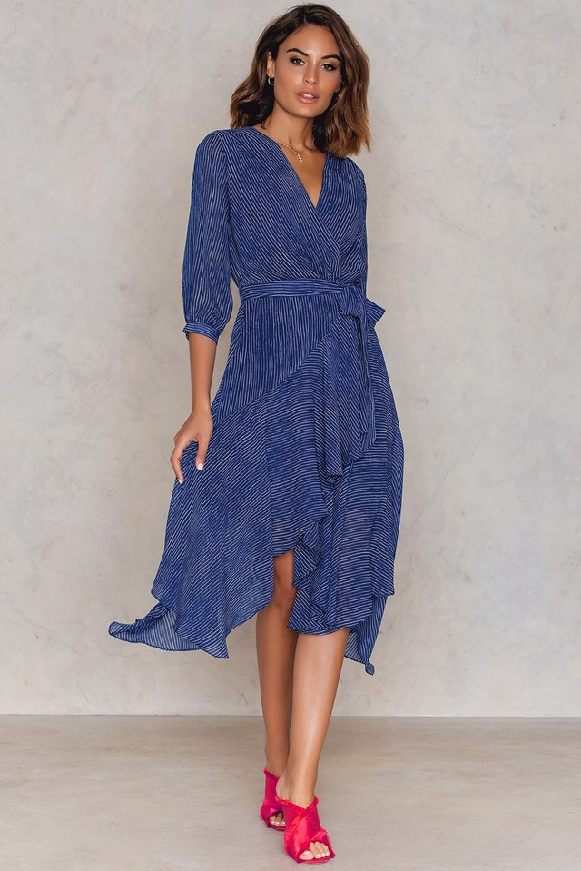 Overlap Tie Sleeve Dress Blue