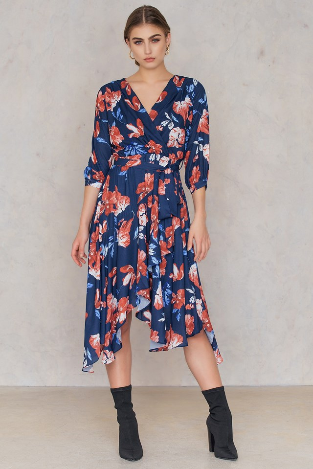 Overlap Tie Waist Dress Navy
