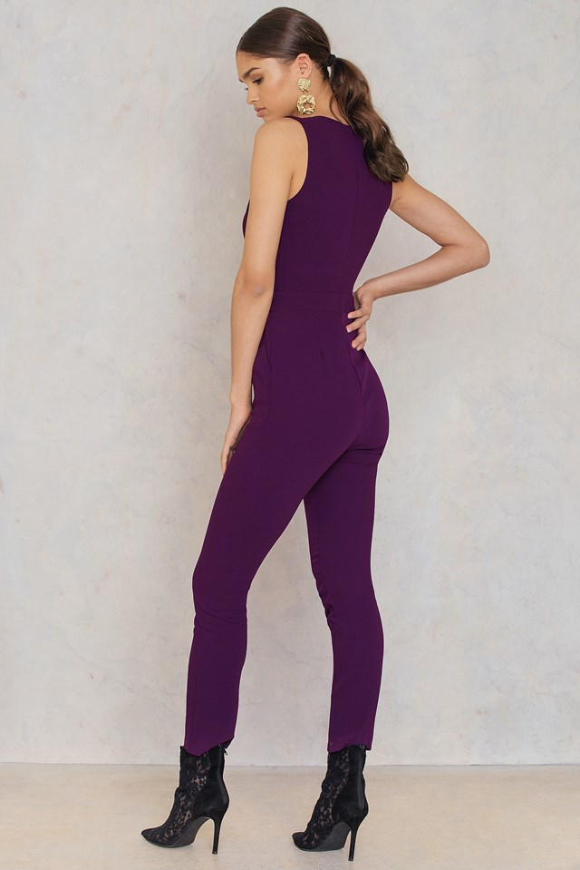Overlap Tie Waist Jumpsuit Purple