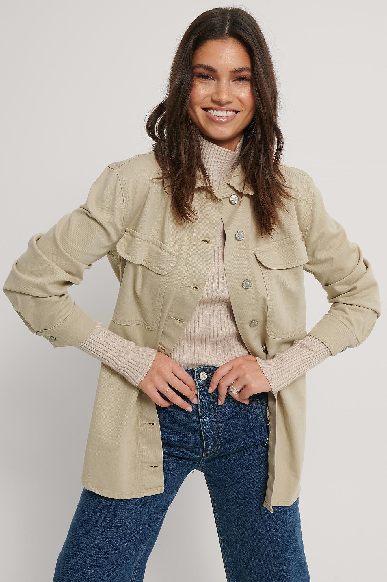 trendyol -  Übergroße Jeansjacke - Beige