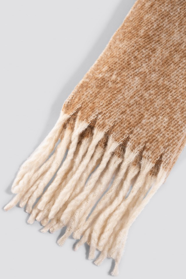 Oversized Knitted Scarf Beige