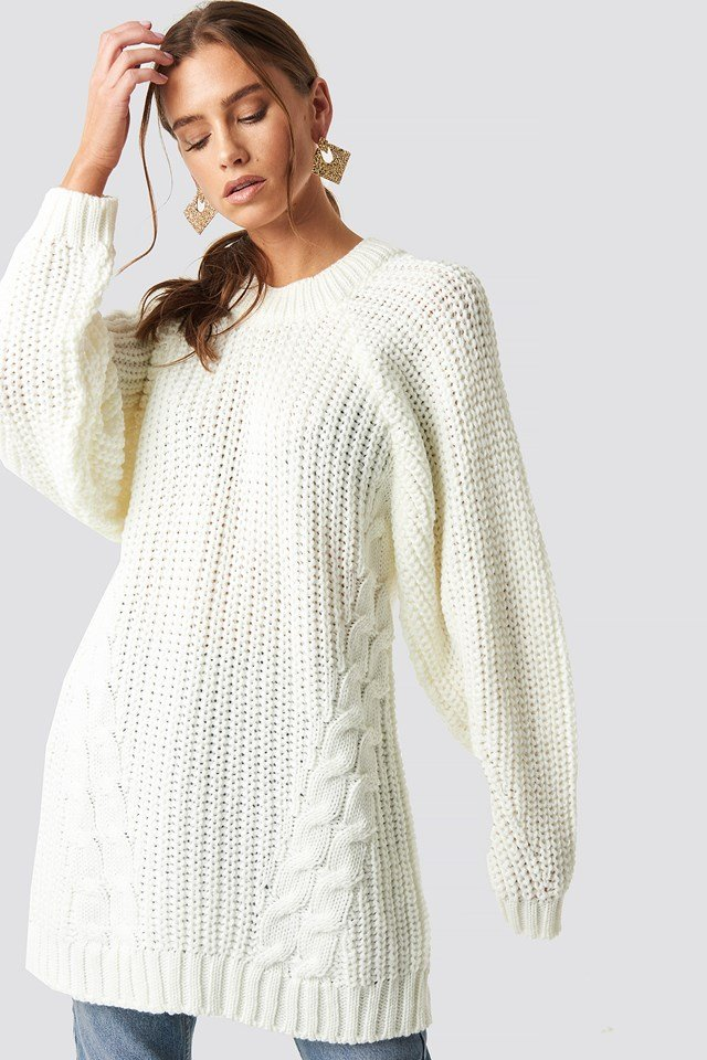 Oversized Knitted Sweater Ecru