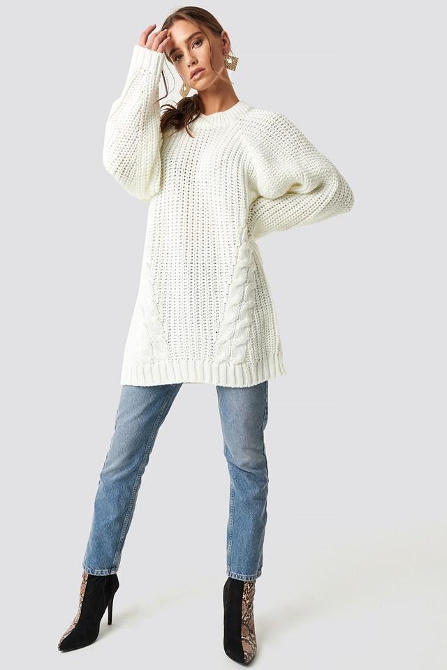 Oversized Knitted Sweater Ecru