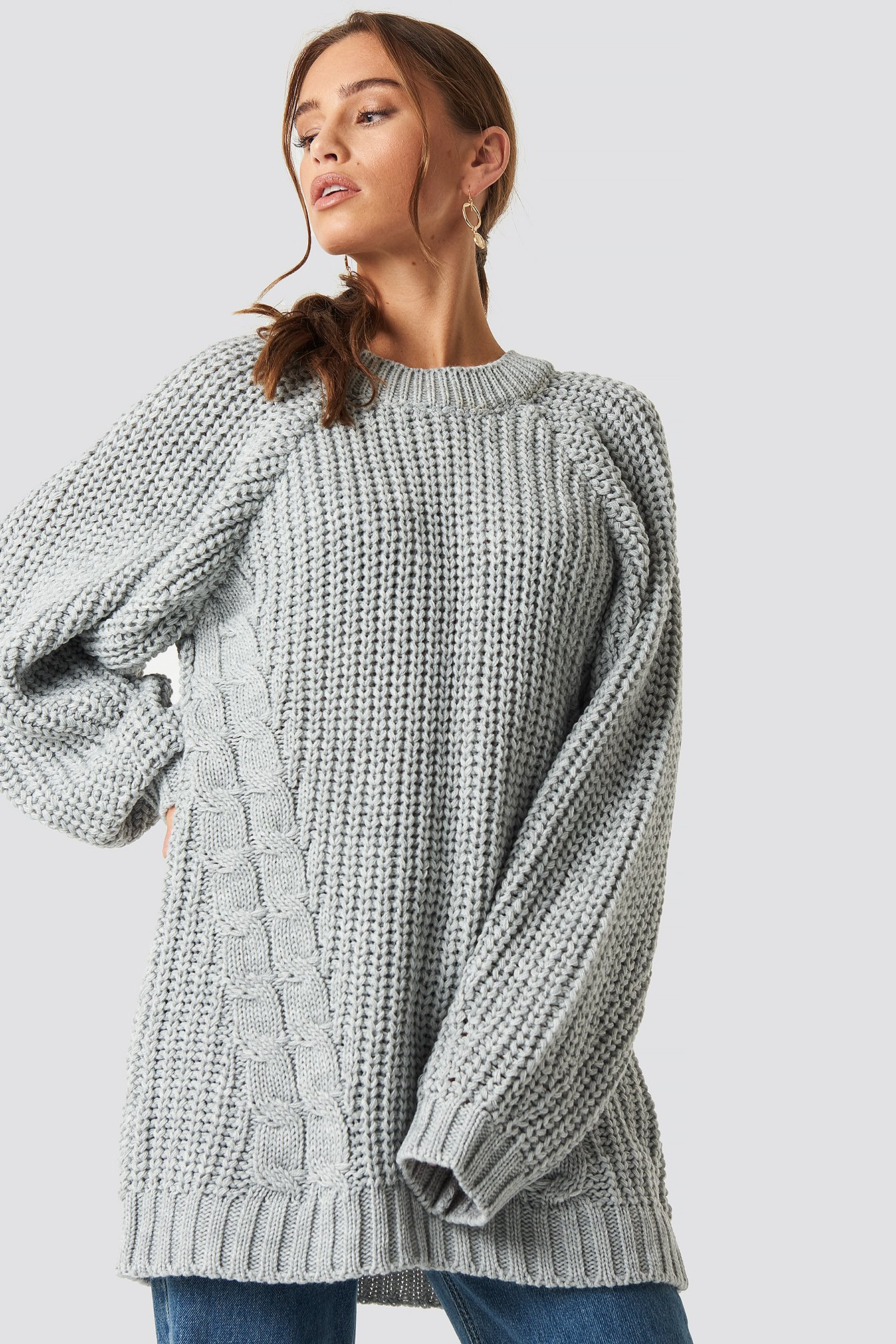 trendyol -  Oversized Knitted Sweater - Grey