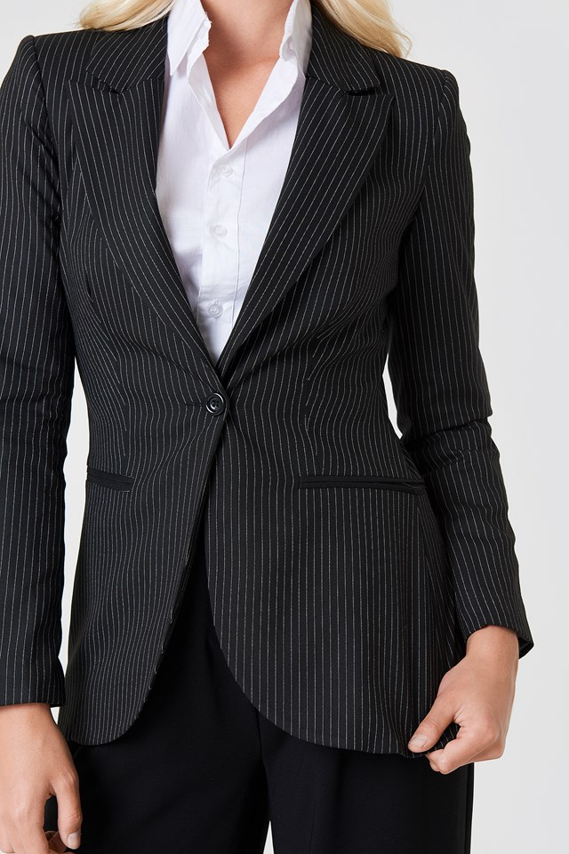Oversized Pinstripe Blazer Black