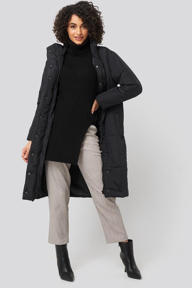 Padded Long Jacket Black