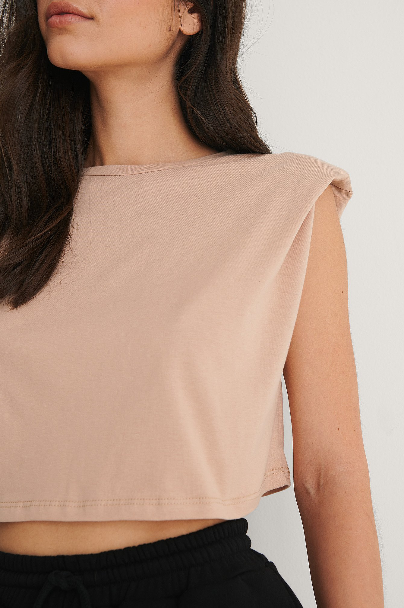 Camel Padded Shoulder Tee