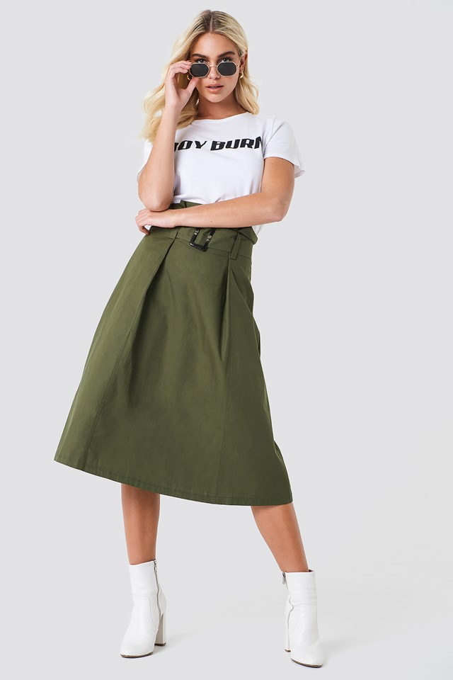 Paperbag Midi Skirt Khaki