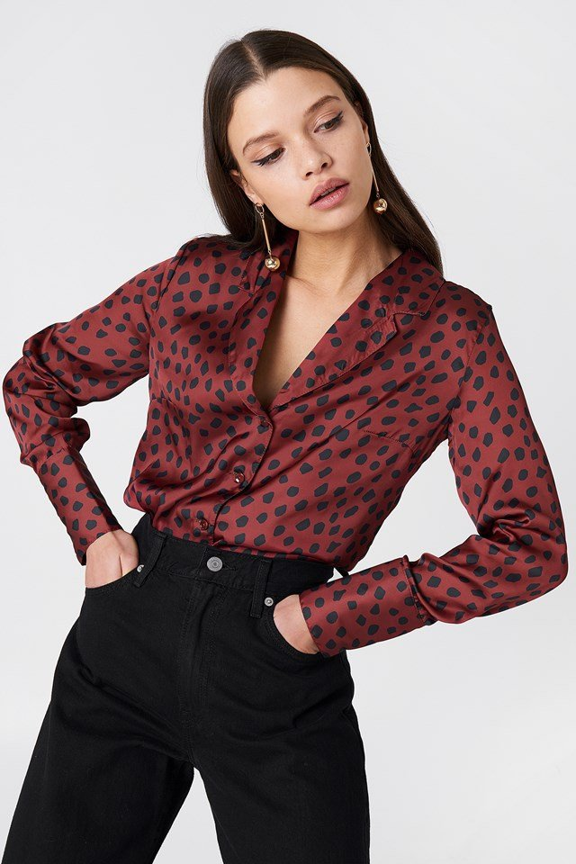 Patterned Blouse Burgundy