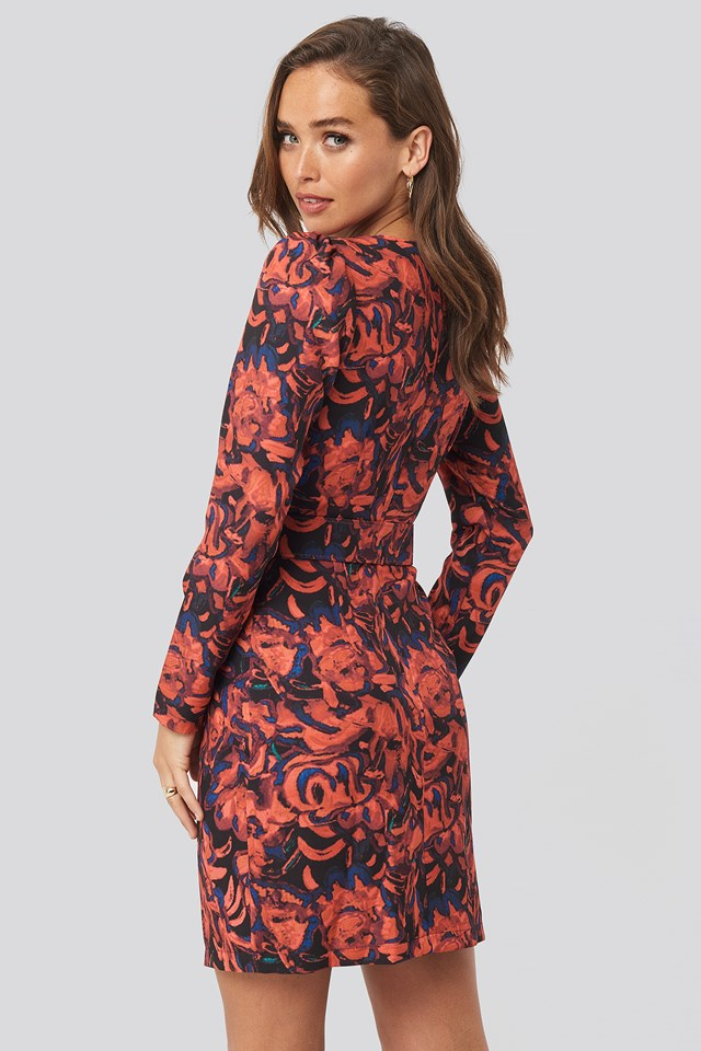Patterned Dress with Belt Red
