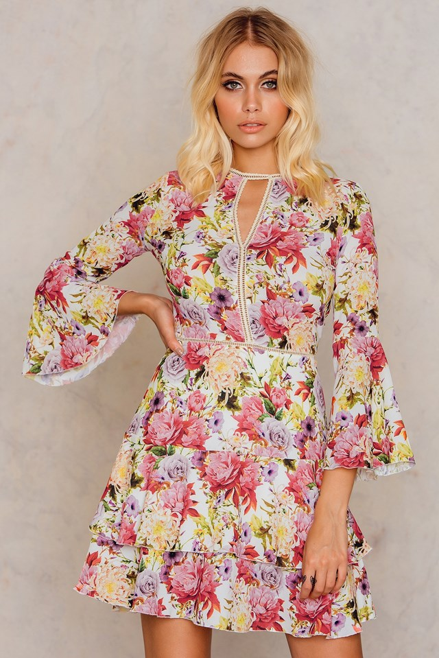 Patterned Frill Dress Patterned