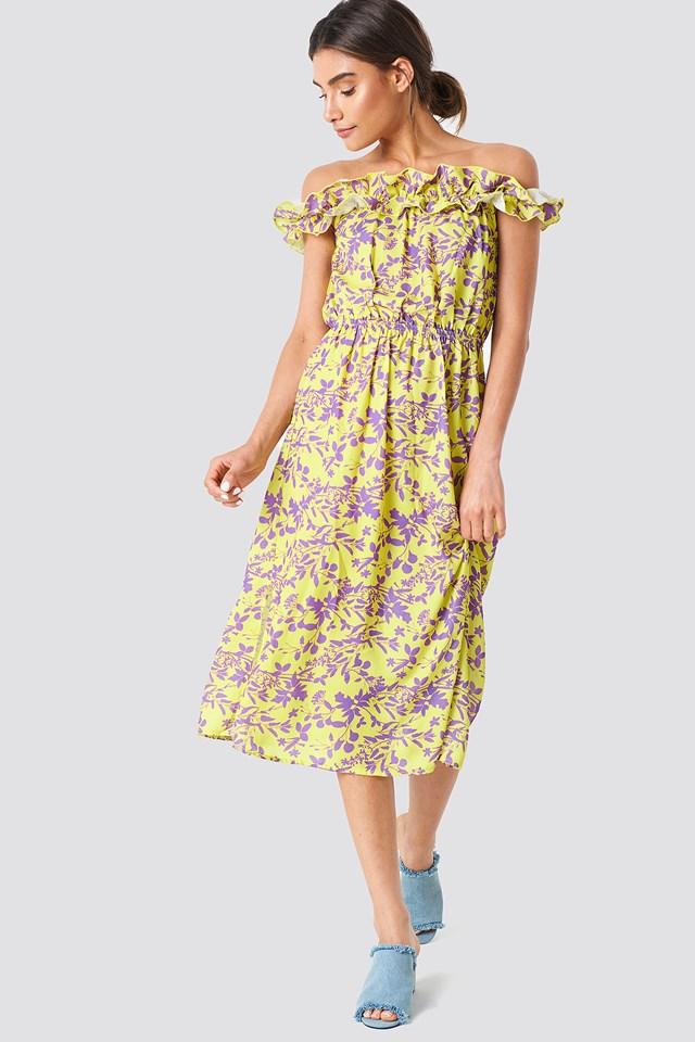 Patterned Frilly Detail Dress NA-KD.COM